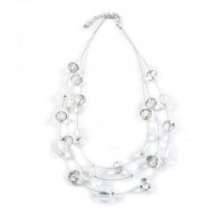 Halskette Glasperlen in Kristall und Rauchquarz DFBIJOUX