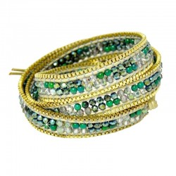 Wickelarmband Armband Leder Halbedelsteine Grün Gold Nakamol