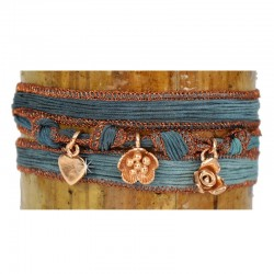 Wickelarmband Armband Blau Seide 925-er Sterling Silber Rose vergoldet Raksha