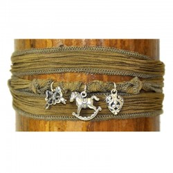 Wickelarmband Armband Grün Seide 925-er Sterling Silber Pferd Raksha