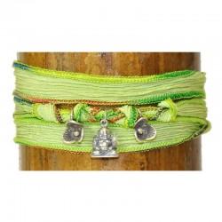 Wickelarmband Armband Seide Buddha Rose Charms 925-er Sterling Silber Grün Raksha