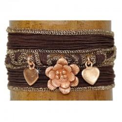 Wickelarmband Armband Rose Braun Seide 925-er Sterling Silber Rosé vergoldet Raksha