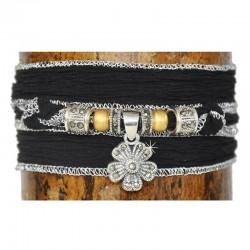 Wickelarmband Armband Blume Schwarz Seide 925-er Sterling Silber Markasit Raksha
