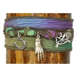 Armband Wickelarmband Hand Grün Violett Seide 925-er Sterling Silber Raksha