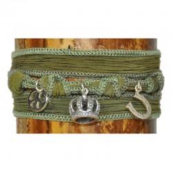 Wickelarmband Armband Krone Grün Seide 925-er Sterling Silber Raksha