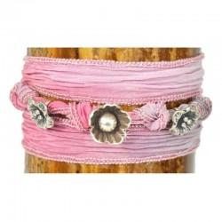 Wickelarmband Armband Seide Rose Charms 925-er Sterling Silber Pink Raksha
