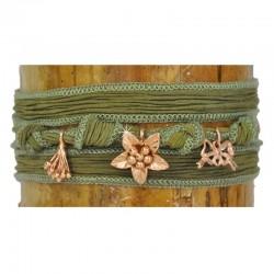 Wickelarmband Armband Rose Grün Seide 925-er Sterling Silber Rosé vergoldet Raksha