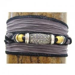 Armband Wickelarmband in lila Seide 925-er Sterling Silber und Markasit Raksha