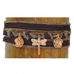 Wickelarmband Armband Libelle Braun Seide 925-er Sterling Silber Rosé vergoldet Raksha