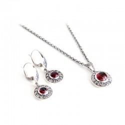 Set Halskette Ohrringe Granat 925-er Sterling Silber Markasit Blossom