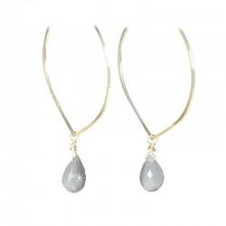 Ohrringe Silber vergoldet Mondstein Ting