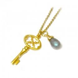 Halskette Schlüssel Labradorit vergoldet Ting