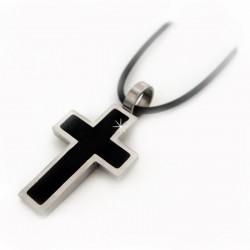 Halsband Leder Kreuz Silber Schwarz DFBIJOUX