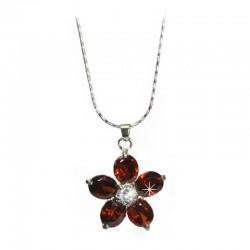 Halskette Blumenanhänger rot Zirkonia DreamFactorJ