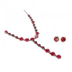 Set Halskette mit Ohrstecker Rhodiniert Rot Phantasya Collection