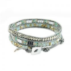 Wickelarmband Armband Leder Halbedelsteine Silber Grau Hellblau Nakamol