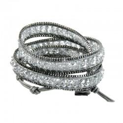 Wickelarmband Armband Leder Halbedelsteine Silber Grau Nakamol
