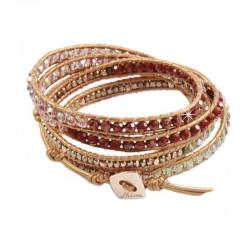 Wickelarmband Armband Leder Halbedelsteine Rot Gold Rose Nakamol