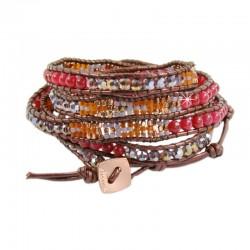 Wickelarmband Armband Leder Halbedelsteine Braun Rot Gold Nakamol