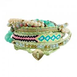 Wickelarmband Armband Leder Halbedelsteine Grün Beige Silber Gold Nakamol
