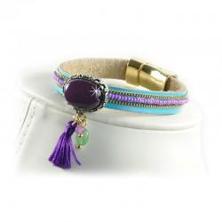 Armband Leder Folklore Chips Style Violett Hellblau Sweet Deluxe