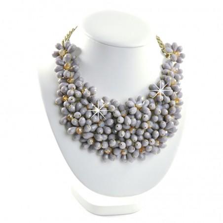 Collier Halskette Blumen Grau Lila Sweet Deluxe