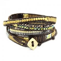 Wickelarmband Armband Leder Halbedelsteine Gold Silber Braun Nakamol