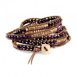 Wickelarmband Armband Leder Halbedelsteine Violett Gold Nakamol