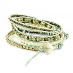 Wickelarmband Armband Leder Halbedelsteine Hellgrün Silber Gold Nakamol