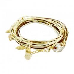 Halskette Wickelarmband Leder 925-er Silber vergoldet Beige Braun Almog