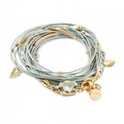 Wickelarmband Halskette Grau 925-er Silber Rotgold  vergoldet Almog