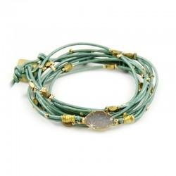 Wickelarmband Armband Leder Metallperlen Hellgrün Nakamol