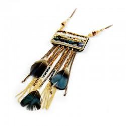 Halskette Feder Glasperlen Accessoires and more