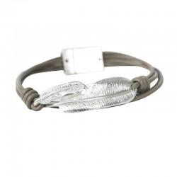 Armband mit Silberfeder Taupe DreamFactorJ