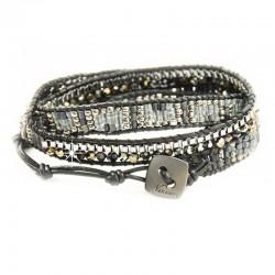 Wickelarmband Armband Schwarz Leder Wachsperlen Silber Nakamol