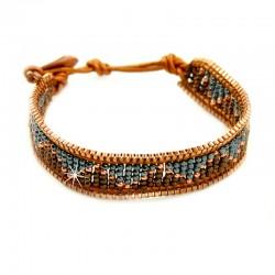 Armband Folkloremuster Blau Braun Nakamol