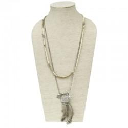 Halskette Silber Feder Creme DFBIJOUX