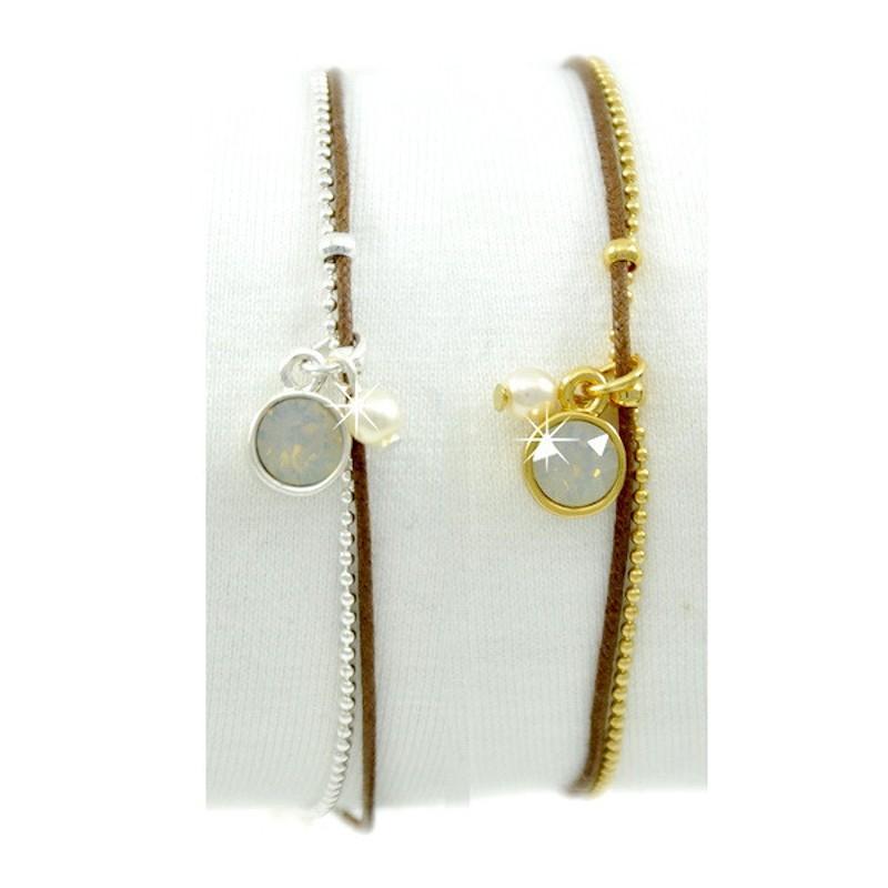 Armband braun Perlen Grau Grün Silber Gold Mint15