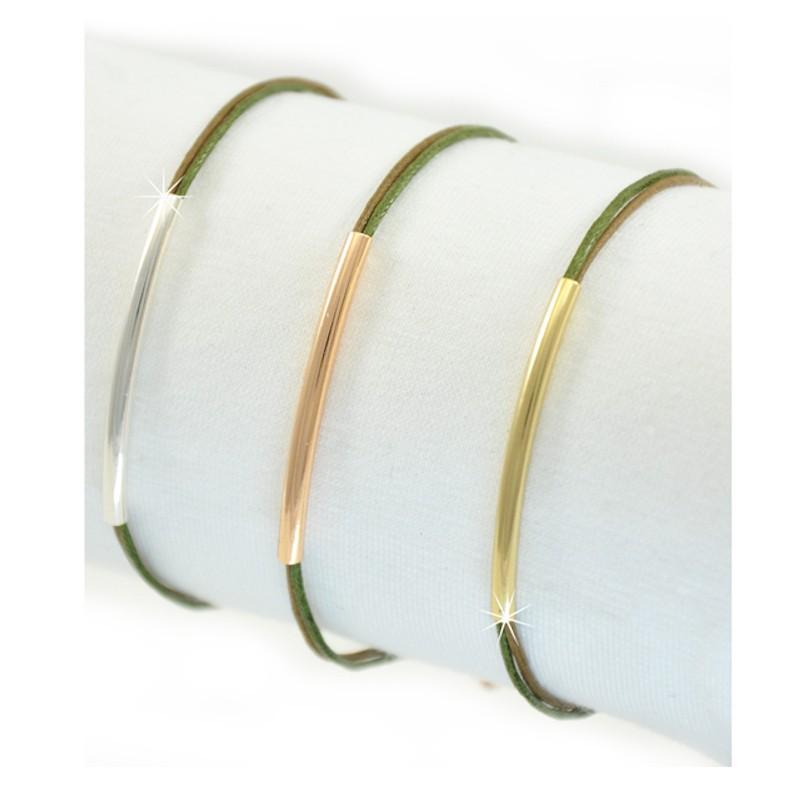 Armband Grün Rohr Gold Silber Rosé Mint15