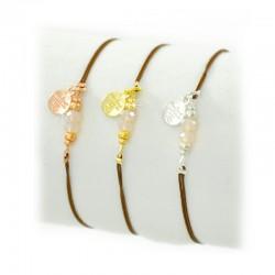 Armband Dragon Lederband Facettenperlen Gold Silber Rosé Mint15