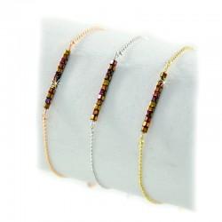 Armband Braun Cubes Perlen Gold Silber Rosé Mint15