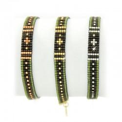 Armband Miyuki Grün Schwarz Perlen Gold Silber Rosé Mint15