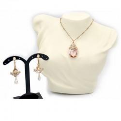 Set Halskette Ohrringe 24 Karat vergoldet Tropf Rosa Amaro