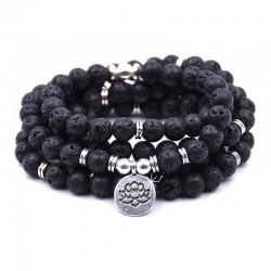 Wickelarmband Armband Halskette Blacklava Lotus Malakette Schwarz DFBIJOUX