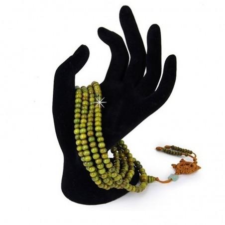 Wickelarmband Armband Halskette Mala Holz Gebetsperlen Grün DFBIJOUX