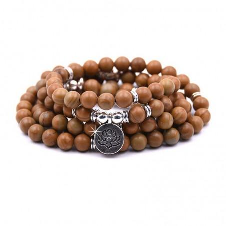 Wickelarmband Armband Halskette Woodjaspis Lotus DFBIJOUX