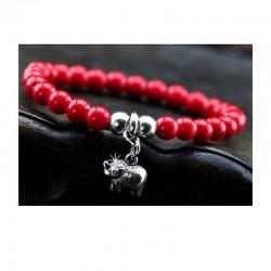 Armband Rot Korallenstein Elefant Silber DFBIJOUX
