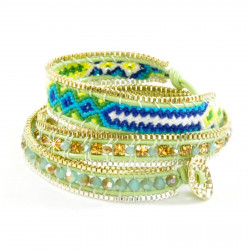 Wickelarmband Armband Leder Halbedelsteine Grün Blau Gold Nakamol