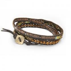 Wickelarmband Armband Braun Leder Wachsperlen Gold Bronze Nakamol