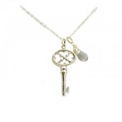 925 Silberkette Schlüssel Mondstein Ting
